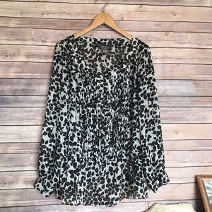 George black white floral blouse top shirt 2X